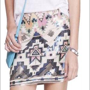 Aztec sequin mini skirt (Express)